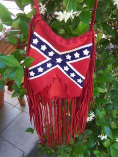 Confederate, Rebel Flag  Deerskin Leather with Fringe Purse,  Crossbody or Shoulder Purse