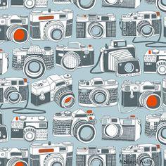 cameras wallpaper design by nancy wolff Graphic Design Pattern, Graphic Patterns, Surface Pattern Design, Pattern Art, Paper Scrapbook, Scrapbook Background, Scrapbooking, Camera Drawing, Camera Art