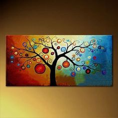Modern Tree Canvas Art Painting For Living room Hand Painted Abstract Canvas Oil Painting Picture Wall Art Decoration Gifts Easy Canvas Painting, Abstract Canvas, Abstract Trees, Painting Tips, Abstract Landscape, Painting Art, Tree Canvas, Canvas Wall Art, Paintings Famous