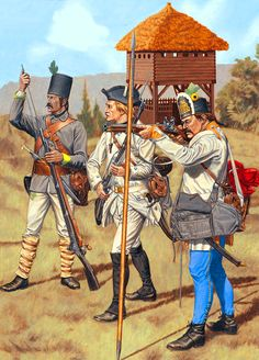 Wallachian Grenz Sharpshooters and Infantrymen European History, World History, Art History, Old Warrior, Fantasy Warrior, Military Art, Military History, Military Uniforms, Les Balkans