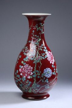 CHINESE FAMILLE ROSE AND COPPER RED PEAR-FORM VASE, Qianlong period. With floral decoration - 15 1/2 in. high.