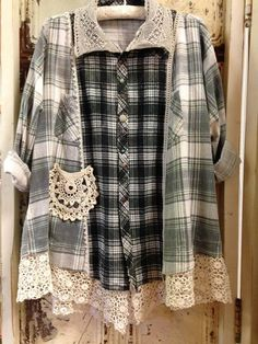PIC ONLY - 2 flannel shirts united/ embellished OR could be Tunic w/ flannel Kimono over..... #Do Now - #Vintage Recycle - grey mens shirt, gents white shirts, cool shirts *ad