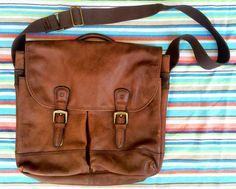 TIMBERLAND Brown Leather Laptop Messenger Bag Satchel Briefcase Brass Buckles…