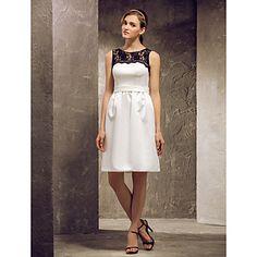 Sheath/Column Scoop Knee-length Satin And Lace Bridesmaid Dress (808875) – USD $ 87.99