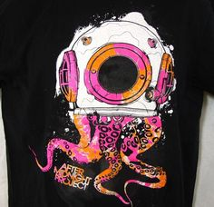 After Midnight Project T-Shirt Adult L Octopus Squid Diver's Helmet Large Black #BayIslandSportswear #GraphicTee