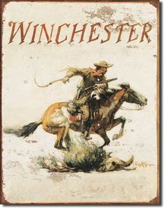 Winchester Logo | Tin | Metal | Sign | Nostalgic | Vintage | Retro | Firearms | Ammunition | Pony Express | A Simpler Time