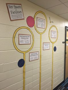 """Pin for Later: This Harry Potter-Inspired Residence Hall Is the Coolest Thing We've Ever Seen """"My favorite bulletin board, a series of Quidditch hoops and balls with information on the school's multiple gyms. Harry Potter School, Harry Potter Classroom, Theme Harry Potter, Harry Potter Halloween, Harry Potter Room, Harry Potter Birthday, Dorm Themes, Classroom Themes, Castle Classroom"""