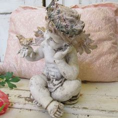 White angel statue pink gold bird and hair by AnitaSperoDesign, $295.00
