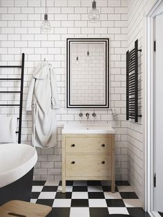Tiny loft in Prague Interior designer Denis Krasikov created the project of this mini loft in the center of Prague. Scandinavian influences, exposed brick walls and bright colors are the main features of this very attractive space! Mini Loft, Loft Bathroom, Bathroom Interior, Modern Bathroom, Small Bathroom, Bathroom Ideas, Bedroom Modern, White Bathroom, Bathroom Wall
