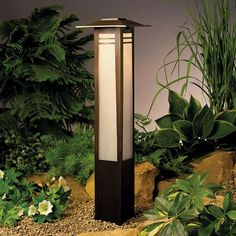 Zen Garden 26 Inch Bollard - ZEN GARDEN BOLLARD PATH LIGHT - Bollard lighting with Far Eastern style and amber glass for soft lighting along a path. Available as deck and post lights. Matching surface and post mount styles available. Kichler Outdoor Lighting, Kichler Lighting, Bollard Lighting, Solar Lights Garden, Outdoor Lighting, Diy Lighting, Luxury Garden, Path Lights, Landscape Lighting