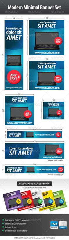 Modern Minimal Web Banner Set – Perfect for retailers of electronics  | Google Adwords Banners, Static Banners, banner pack, banner set, banners adwords, marketing, advertising, web banners