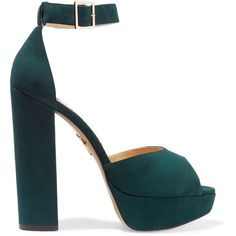 Charlotte Olympia Eugenie suede platform sandals ($460) ❤ liked on Polyvore featuring shoes, sandals, heels, pumps, sapatos, emerald, buckle sandals, platform shoes, ankle strap heel sandals and platform heel sandals