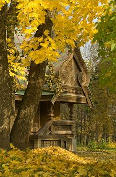 Russian wooden house. Autumn landscape. #Russian #wooden #house