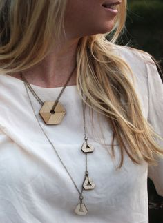Our model, Lindsay, wearing the laser cut lightweight wood Prism Series layered necklaces #wood necklace #lasercut jewelry #fashionforward