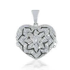 Bling Jewelry Sterling Silver Vintage Pave Heart Locket Pendant Bling Jewelry. $29.99. 3.6 grams Heart area approx 1.75in x 1.75in with bail. .925 Sterling Silver. Heart Locket Pendant. Cubic Zirconia. Locket