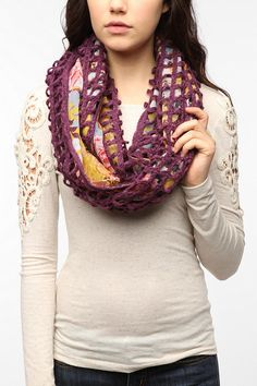 Pins and Needles Floral Crochet Eternity Scarf  #UrbanOutfitters...it looks way better in person than it does in the picture, and I want it so bad!!