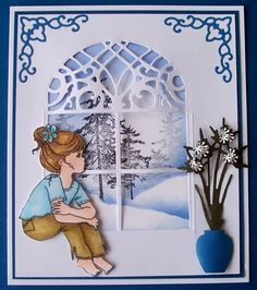 Baukje's Cards and Crafts - window die Scrapbooking, Scrapbook Paper Crafts, Scrapbook Cards, 3d Cards, Cool Cards, Christmas Cards, Art Carte, Hand Made Greeting Cards, Spellbinders Cards