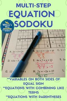Fun way to practice multi-step equations with these sodoku puzzles. Includes solving equations with parentheses, equations with variables on both sides, and equations that require combining like terms Algebra Activities, Maths Algebra, Math Resources, Algebra Equations, Math 8, Math Games, Calculus, Numeracy, Math Teacher