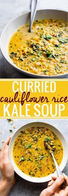 "This Curried Cauliflower Rice Kale Soup is one flavorful healthy soup. An easy paleo soup recipe for a nutritious meal-in-a-bowl. Roasted curried cauliflower ""rice"" with kale and even more veggies to fill your bowl! A delicious vegetarian soup to make aga Paleo Soup, Paleo Vegan, Vegan Soups, Vegan Curry, Whole 30 Vegetarian, Healthy Soup Vegetarian, Keto Curry, Curry Rice, Vegan Recipes"
