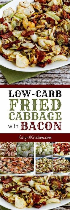 Low-Carb Fried Cabbage with Bacon is super quick super easy and super delicious! This is perfect for Keto diets and it's also gluten-free dairy-free and can be Paleo with the right bacon choice. Keto Cabbage Recipe, Cabbage Recipes, Radish Recipes, Potato Recipes, Paleo Recipes, Low Carb Recipes, Pescatarian Recipes, Snacks Recipes, Juice Recipes