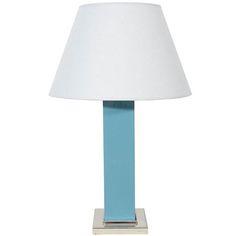 Ceramic Art Deco Lamp, Chrome Base