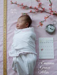 """Faire-part de naissance. Mois de juin. Jolie branche de cerisier et ambiance """"rose""""."""