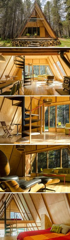 Red A-frame cabin in Yosemite National Park
