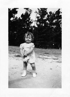 Black and White Vintage Snapshot Photograph Baby Girl Dress Yard Little 1940's
