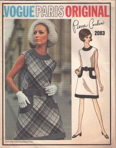 Vogue 2083 Vintage 60's Sewing Pattern Paris Original Designer Pierre Cardigan SNAZZY Mod Twiggy WIDE Band Trim Day Dress