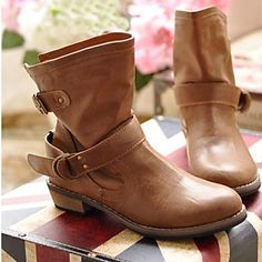 Women's Shoes Motorcycle Round Toe Low Heel Ankle Boots with Buckle