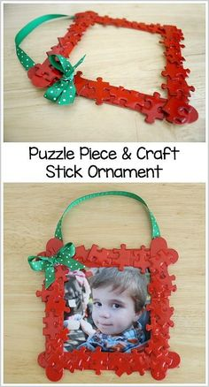 Homemade Christmas Ornaments: Puzzle Piece Frame - Buggy and Buddy - Puzzle Piece and Craft Stick Homemade Ornament Craft for Kids (Perfect for Toddlers, Preschoolers, - Ornament Crafts, Craft Stick Crafts, Holiday Crafts, Craft Sticks, Kids Ornament, Craft Ideas, Photo Ornaments, Craft Gifts, Sequin Ornaments