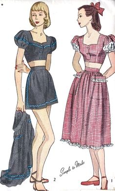 Misses Shorts Midriff Top and Skirt Cute way to add eyelet fabric to puffy sleeves. Vintage Sewing Patterns, Clothing Patterns, Dress Patterns, 1940s Fashion, Vintage Fashion, Edwardian Fashion, Vintage Dresses, Vintage Outfits, Patron Vintage