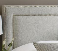 Square with nailhead border also pretty. Bed Headboard Design, Bed Design, Diy Fabric Headboard, Master Room, Headboards For Beds, Luxurious Bedrooms, Shabby Chic Furniture, Diy Furniture, Interior Design Living Room