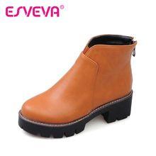 ESVEVA 2016 Conciso Otoño Zapatos de Punta Redonda de Alto Tacón Cuadrado mujeres de Moda Las Botas de Cremallera Suave de LA PU Botines de Plataforma de Tamaño 34-43(China (Mainland))