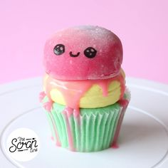 Meet Squishy Monster: a vanilla cake with a kawaii Nutella mochi on top!