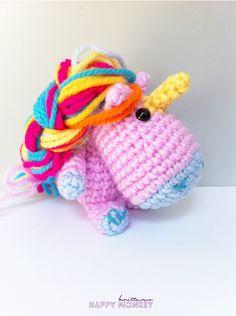 Unicornio Amigurumi - Patrón Gratis en Español aquí: happymonkei.blogspot.com.es/2014/06/patron-unicorni-amigurumi.html