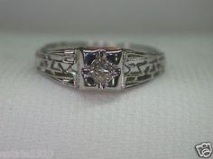 Antique Art Deco Diamond Engagement Solitaire Ring 18K Filigree Vintage Estate