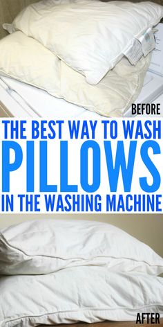 Learn the best way to wash pillows in the washing machine. Get your pillows looking and smelling like new in no time flat. Household Cleaning Tips, Deep Cleaning Tips, Toilet Cleaning, House Cleaning Tips, Diy Cleaning Products, Cleaning Solutions, Spring Cleaning, Cleaning Hacks, Cleaning Checklist