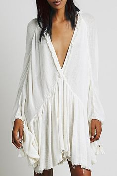 Pure Color Plunging Neck Bat Wing Sleeve Dress #ZAFUL #FASHION #STYLE