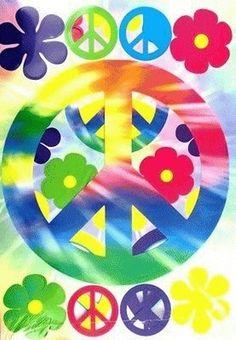 42 Retro Hippie Peace Signs Smiley Faces Flowers Scene Cutouts Party Decoration…