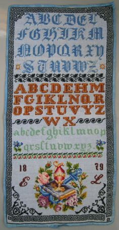 1879 ANTIQUE VERY COLORFUL AUSTRIAN WOOL WORK SAMPLER ALPHABET BIBLE ABECEDAIRE