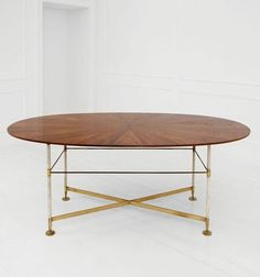 Attilio Colonnello; Rosewood, Brass and Parchment-Covered Metal Table, c1955.