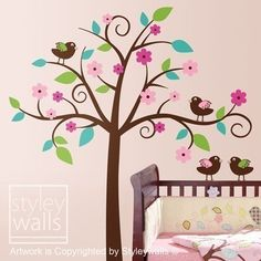 Whimsical Flower Tree with Love Birds - Nursery Vinyl Wall Decal. $89.00, via Etsy.
