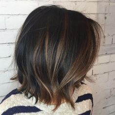 Natural look highlights Subtle Balayage Brunette, Bayalage Bob, Balayage For Asian Hair, Brown Hair Balayage, Long Bob Bayalage Brown, Dark Brown Balayage Medium, Bayalage On Black Hair, Caramel Balayage Bob, Dark Hair With Balayage