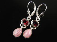 Garnet & Rhodochrosite Sterling Silver Earrings
