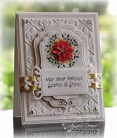 Carte 3 D blanche fleur rouge