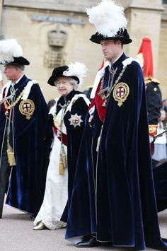 Prince Charles, the Queen and Prince William take part in the Order of the Garter ceremony at Windsor Castle 17 June 2013