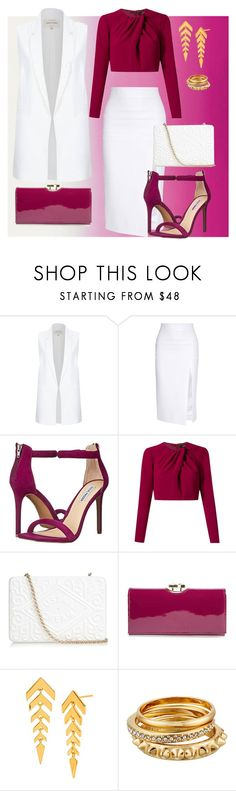 """Pink and White Chiq"" by leonorc ❤ liked on Polyvore featuring River Island, Cushnie Et Ochs, Steve Madden, Andrea Marques, Anya Hindmarch, Ted Baker, Gorjana and Rebecca Minkoff"