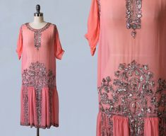 1920s Dress / Pink Sheer Chiffon Beaded Sequin Flapper Dress / GORGEOUS Mint Condition