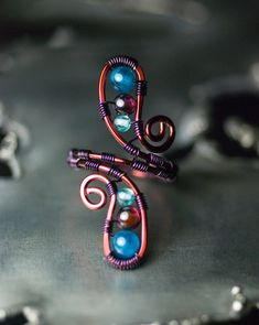 Wire ring - purple wire on copper